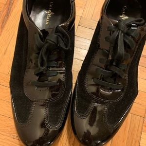 Cole Haan Black Patent Leather and Suede Oxfords